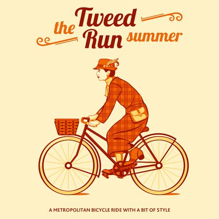 cycle suit: Tweed run retro cycling event poster Illustration
