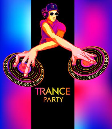 party dj: Plantilla del cartel con el club de dj para la fiesta de trance