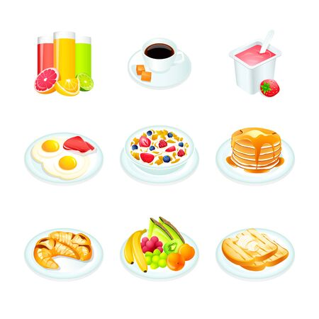 continental: Continental breakfast realistic icons isolated