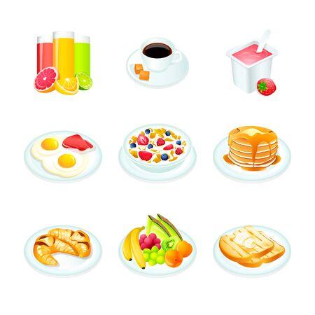 kontinentální: Kontinentální snídaně realistické ikony izolované Ilustrace