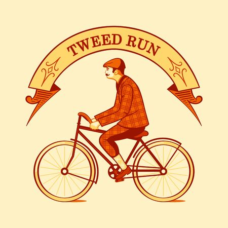 cycle suit: Tweed run retro cycling event symbol isolated