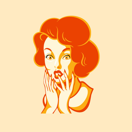 woman shock: Retro girl face with ooh emotion Illustration