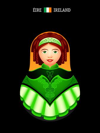 matryoshkas: Matryoshkas of the World: Irish dancer girl Illustration