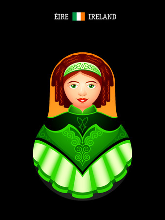 Matryoshkas of the World: Irish dancer girl Illustration