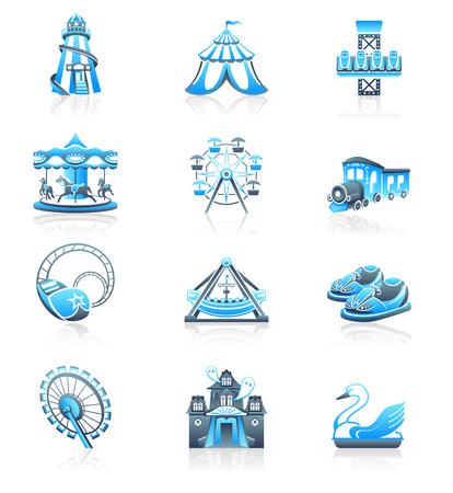 freefall: Amusement park or funfair attraction blue-grayicon-set