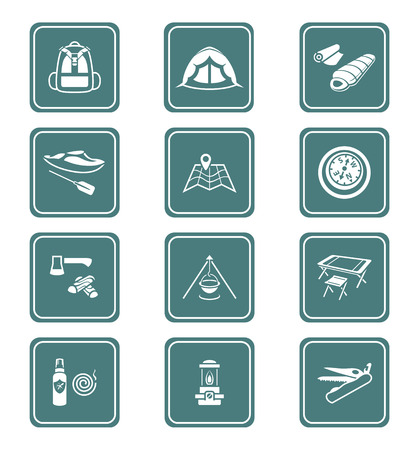 sleeping bag: Camping equipment and tools teal icon-set Illustration
