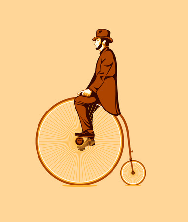 Gentleman riding a retro penny farthing bycicle Illustration