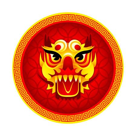 伝統: 中国の旧正月ラウンド ライオン マスク シンボル