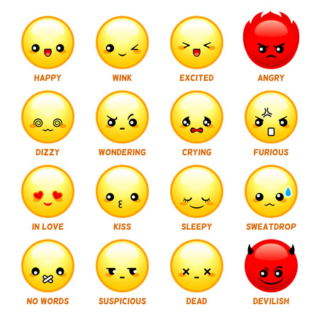 confused cartoon: Set of common japanese emoticons isolated Illustration