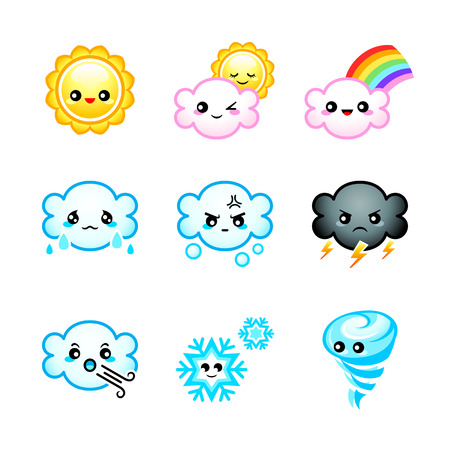Cute Japanese weather icons with emotions isolated
