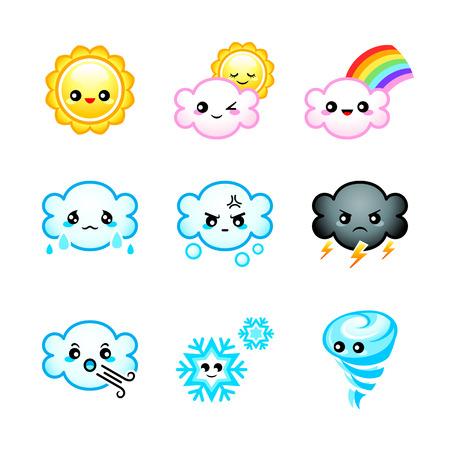 Schattige Japanse weer pictogrammen met emoties geïsoleerde