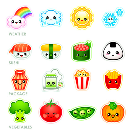 Cute japanese stickers with weather, sushi, packages and vegetables