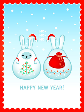 santa sack: Snow rabbits with Santa sack and Christmas tree