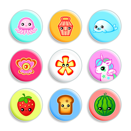 unicorn: Set of badges with the cute Japanese style characters