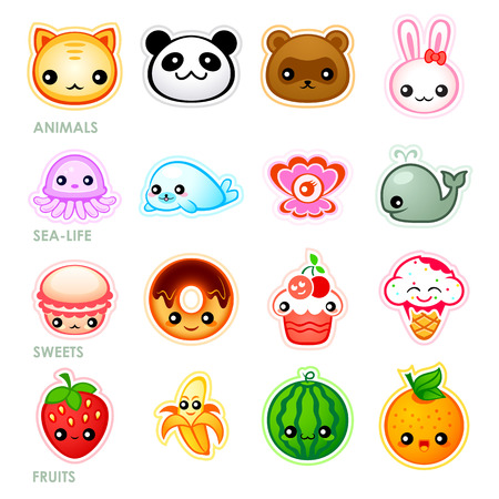Cute japanese stickers with animals, sea-life, sweets and fruits