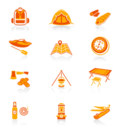 camping equipment: Camping equipment and tools red-orange icon-set Illustration