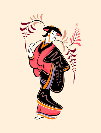 Japanese folk-art from Otsu - Wisteria maiden