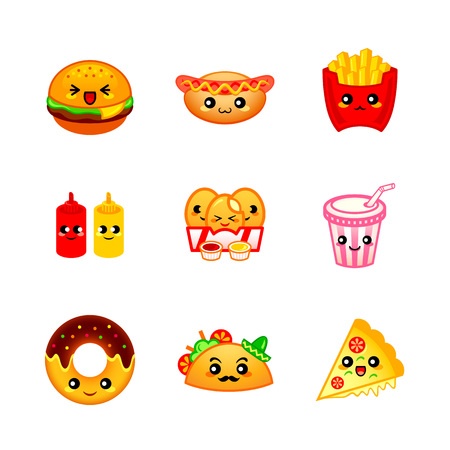 Cute fast-food icons Ilustrace