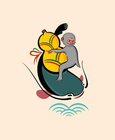 folkart: Japanese folk-art from Otsu - Monkey with a gourd on catfish