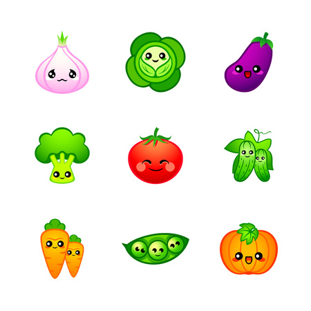 Kawaii vegetables icons or stickers with emotions Illustration
