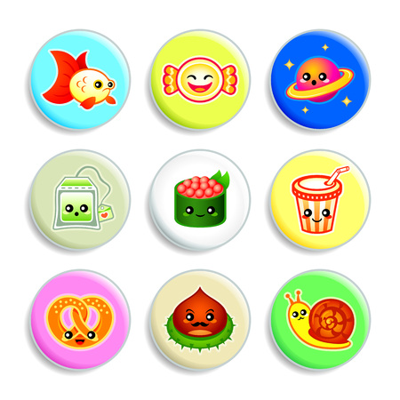 teenagers laughing: Set of badges with the cute Japanese style characters