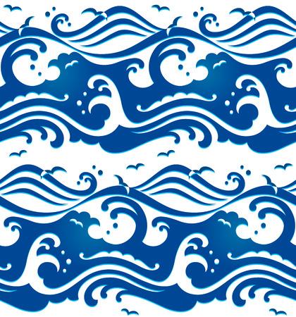 Seamless stormy ocean waves pattern
