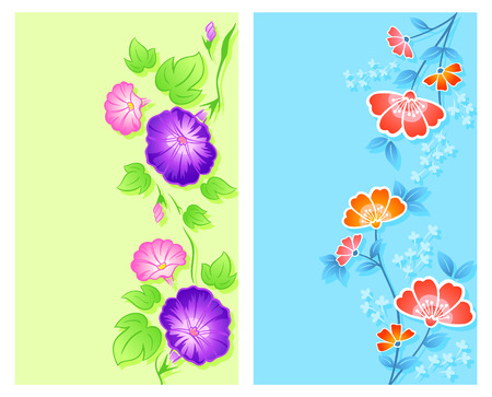 morning glory: Vertical floral curtain or wrapping designs