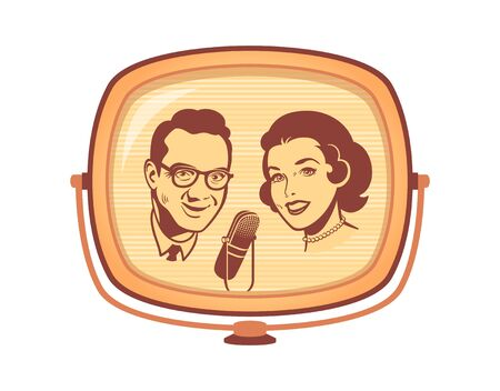 Female and male presenters on retro tv talk show