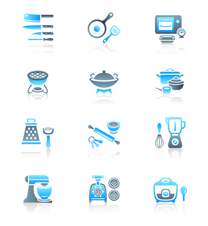 cooking utensils: Modern professional utensils for cooking icon-set