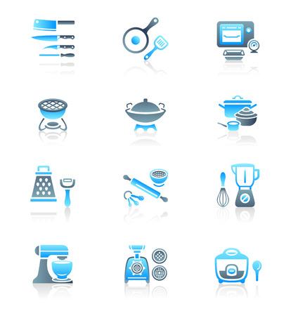 utensil: Modern professional utensils for cooking icon-set
