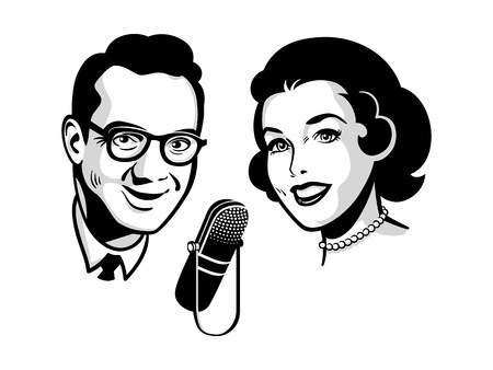 man illustration: Female and male presenters on retro talk show Illustration
