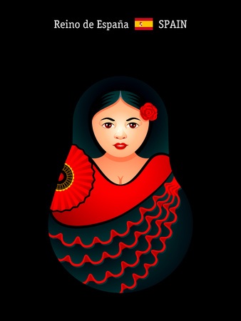 spanish girl: Matryoshkas of the World: spanish girl in flamenco dress