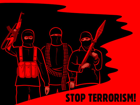 Armed terrorist fighters surrounded by oil and blood