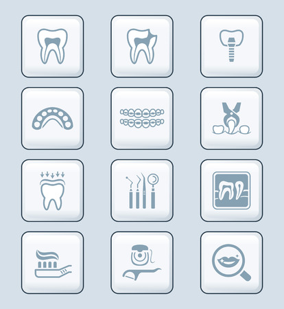 iconset: Dental care tools and procedures gray icon-set