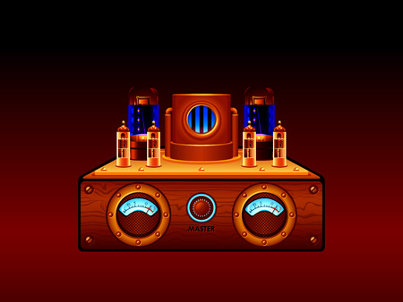 cathode: Abstract steampunk vacuum tube stereo amplifier