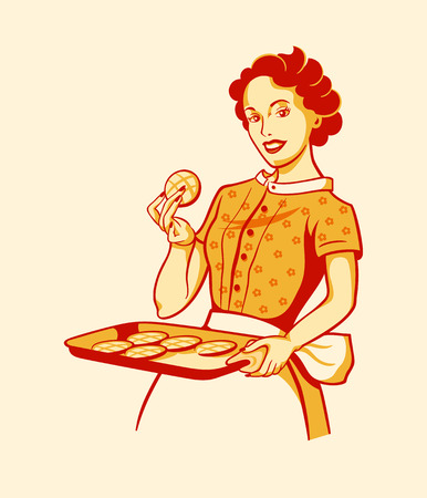 Retro housewife with fresh baked cookies Çizim
