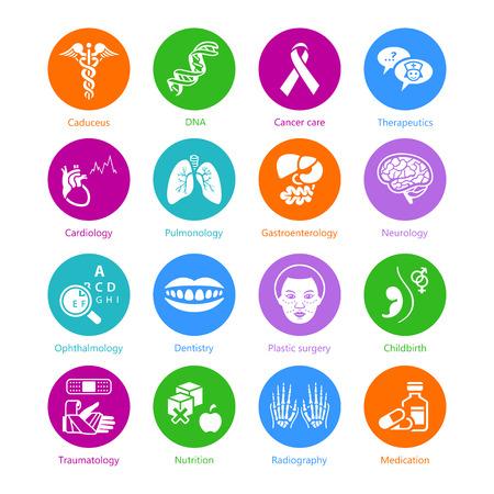 simbolo medicina: Símbolos médicos, especialidades y órganos humanos iconos de color