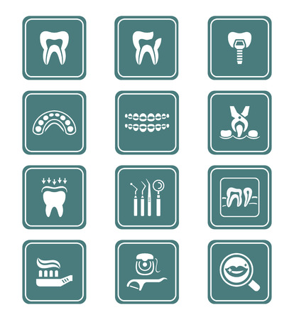 dentist icon: Dental care tools and procedures teal icon-set Illustration