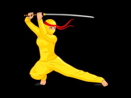 katana: Female ninja with a katana sword isolated over black Illustration