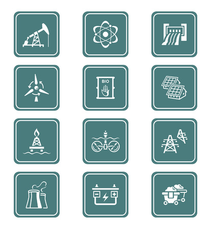 hydroelectric power station: Energy, power and electricity icon-set