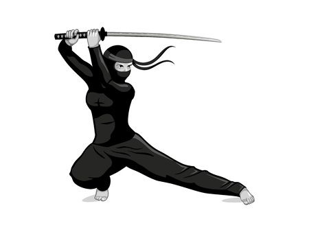 female kick: Female ninja with katana sword