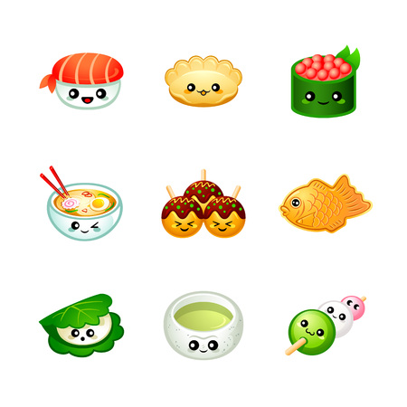 Cute Japanese festival and street food icons Stock Illustratie