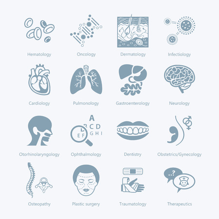 liver cells: Major medical specialties and human organs icons