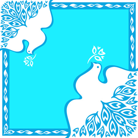 worldwide wish: Royal blue peace birds floral square ornament Illustration