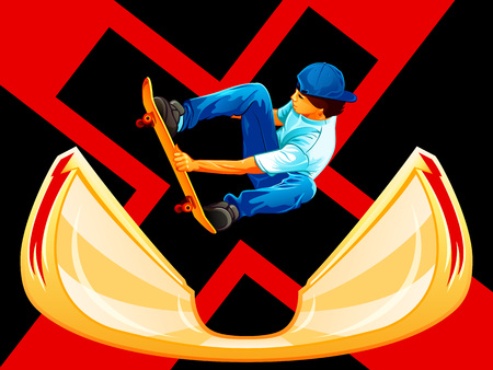 x games: X-games poster with a skateboarder over ramp