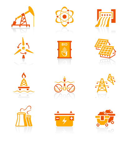 hydro: Energy, power and electricity red-orange icon-set Illustration