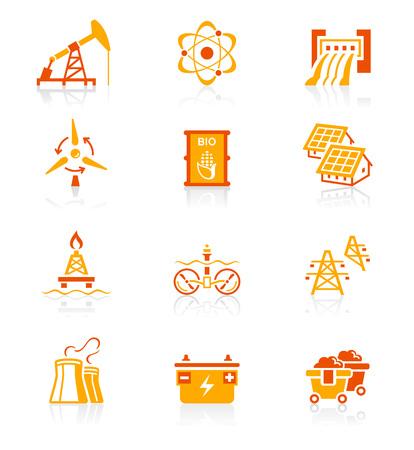 iconset: Energy, power and electricity red-orange icon-set Illustration
