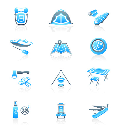 sleeping bags: Camping equipment and tools blue-gray icon-set Illustration