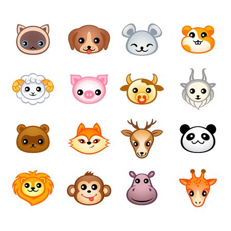 Schattige dieren hoofden met emoties in Japanse stijl