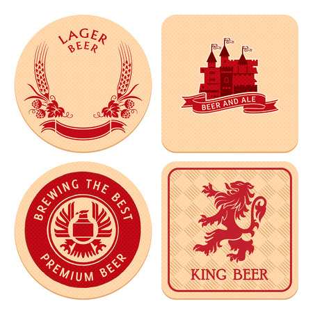 banner craft: Retro round and square beer coaster designs